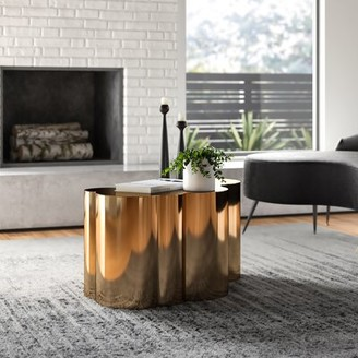 "Statements By J Tanksley Solid Coffee Table Color: Rose Gold, Size: 16"" H x 31"" L x 19"" W"