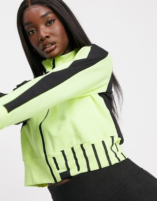Puma Training stretch knit jacket in black and yellow