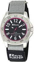 Ravel Men's Surfer 5ATM Hook & Loop w/Strap and Ring Ends Quartz Watch with Black Dial Analogue Display and Multicolour Nylon Strap R5-11.3G