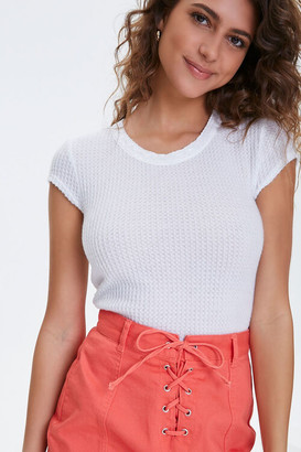 Forever 21 Lace-Trim Waffle Knit Tee