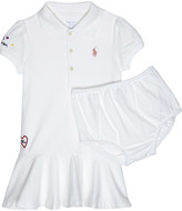 Ralph Lauren White Embroidered Classic Logo Cotton Dress And Under Shorts 6-24 Months