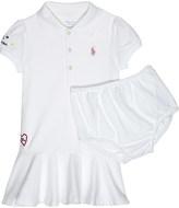 Ralph Lauren White Embroidered Logo Feminine Cotton Dress And Under Shorts 6-24 Months