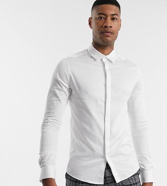 ASOS DESIGN Tall skinny fit sateen shirt in white