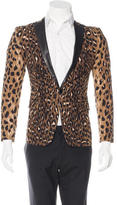 DSQUARED2 Leopard Print Leather-Trimmed Blazer