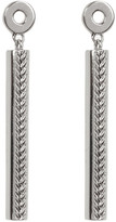 Cole Haan Rhodium Plated Basket Textured Linear Drop Earrings