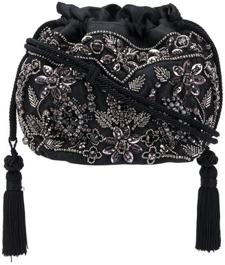 Etro Bead Embellished Tassel Detail Bucket Bag