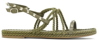 Valentino Torchon Rockstud Leather Sandals - Khaki