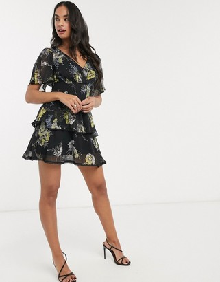 Asos DESIGN short sleeve shirred waist mini dress in floral print with cluster embellishment detail and circle trims