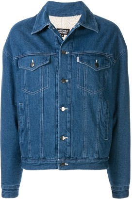 Andrea Crews Buttoned Logo Denim Jacket