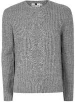 Topman Mens Grey Gray And White Twist Cable Knit Sweater