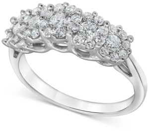 Forever Grown Diamonds Lab-Created Diamond Horizontal Cluster Statement Ring (1 ct. t.w.) in Sterling Silver