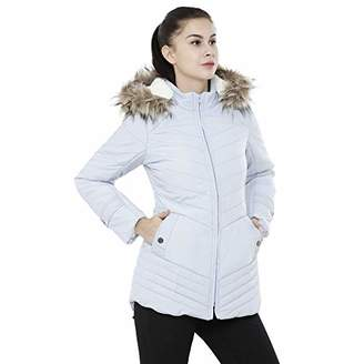 Studio99 Women Fur Hood Puffer Jacket - Quilted Padded Insulated Water Resistant Nylon Coat with Detachable Sherpa Lined Hood