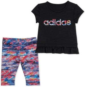 adidas Little Girls 2-Pc. Aeroready Ruffle-Trim T-Shirt & Printed Tights Set