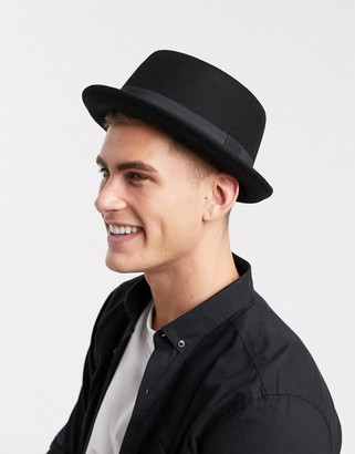 ASOS DESIGN pork pie hat in black