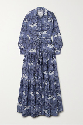 Evi Grintela Atlas Tiered Velvet-trimmed Printed Cotton Maxi Dress - Navy
