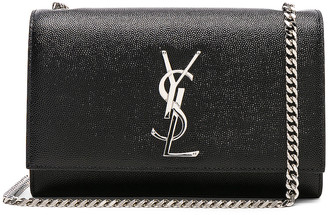 Saint Laurent Small Monogramme Kate Chain Bag in Black & Silver | FWRD