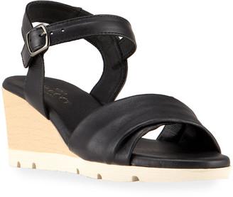 Sesto Meucci Maci Leather Wooden Wedge Sandals, Black