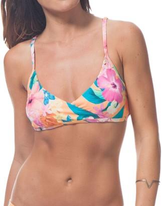 Rip Curl Women's Paradiso Tropical Print Mock Wrap Bralette Bikini Top