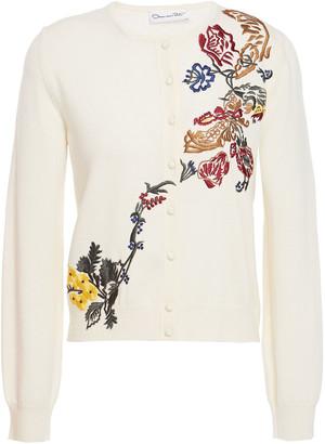 Oscar de la Renta Embroidered Wool Cardigan
