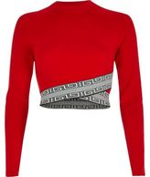 River Island Womens Red contrast print trim crop top