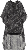 Halston Embellished Printed Georgette Mini Dress - Dark gray