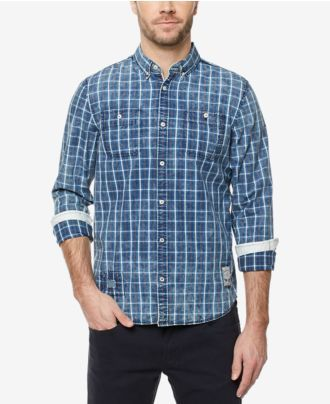 Buffalo David Bitton Men's Grid-Pattern Button-Down Shirt