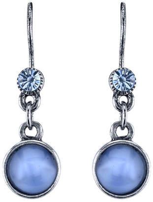 2028 Pewter Tone Lt. Blue Moonstone Drop Earrings