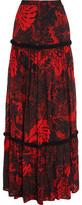 Just Cavalli Ruffle-Trimmed Printed Chiffon Maxi Skirt