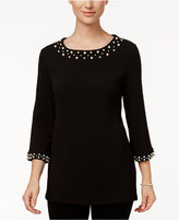 Charter Club Faux-Pearl-Trim Top, Only at Macy's