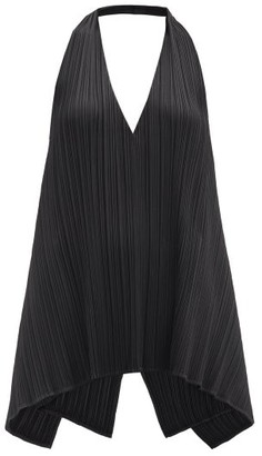 Pleats Please Issey Miyake Halterneck Technical-pleated Top - Black