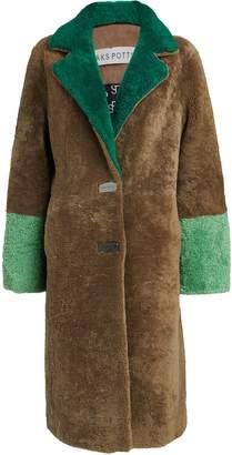 Saks Potts Febbe Colorblock Shearling Coat