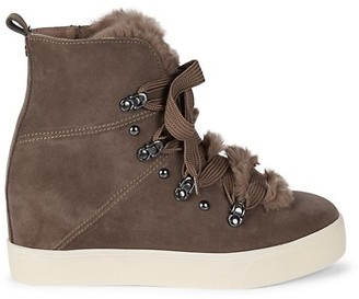 J/Slides Whitney Suede Faux Fur Wedge Booties