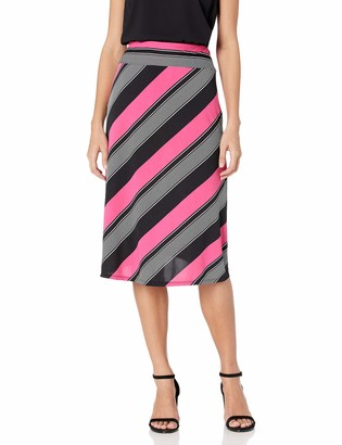"Notations Women's Diagonla Stripe Printed 28"" Skirt"