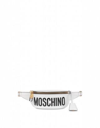 Moschino Leather Waist Bag With Logo Woman White Size U It - (one Size Us)