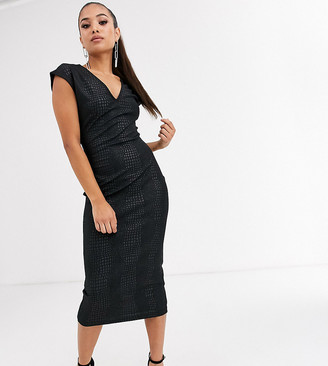Asos DESIGN Petite snake leather look midi dress