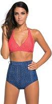 Sugarwewe Denim High Rise Bottom Swimwear Halter Polka Dot Swimsuit Bikini Set
