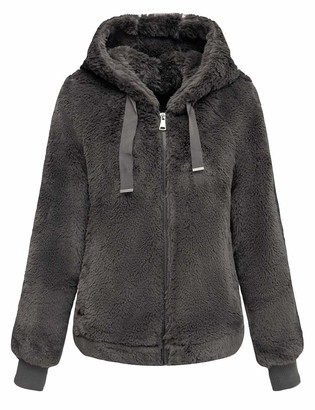 Bellivera Women's Faux Fur Jacket with 2 Side-Seam Pockets The Coat with Hood Gray L