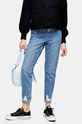 Topshop Womens **Maternity Mid Stone Over The Bump Mom Jeans - Mid Stone