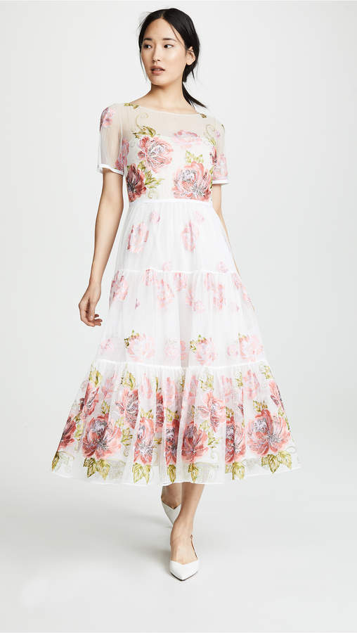 Marchesa Floral Embroidered Tea Length Gown