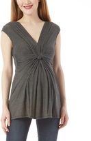 Glam Charcoal Knotted Maternity Sleeveless Top