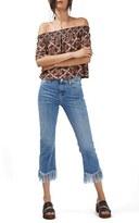Topshop Women's Scarf Print Off The Shoulder Top