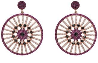 Gab+Cos Designs Venetian Goddess 22K Rose Gold Vermeil Pave CZ Disc Fan Drop Earrings