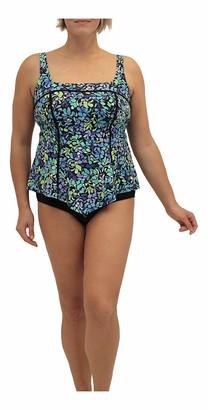 Fit 4 U Women's Plus Size Sea Glass Square Neck V Hem Swim top