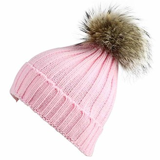 Feifanshop Womens Girls Warm Winter Crochet Hat Wool Knitted Beanie with Large Raccoon Fox Fur Pom Pom Cap Ski Snowboard Hats Bobble Ball (Pink)(Size: One size fit all)