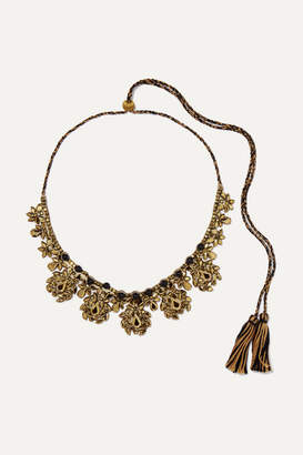 Etro Braided Cotton, Bead And Crystal Necklace - Gold