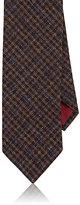 Luciano Barbera Men's Plaid Woven Cashmere Necktie-DARK BROWN