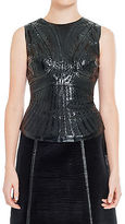 Max Studio by Leon Max LASER ETCHED PATENT SLEEVELESS SHELL