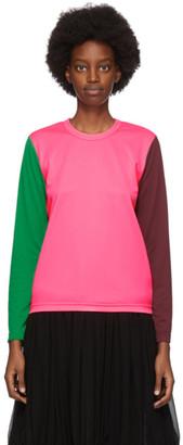 Comme des Garcons Pink Pique Colorblock Long Sleeve T-Shirt