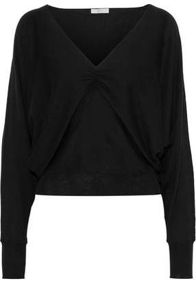 Joie Giluna Ruched Cotton, Silk And Cashmere-blend Sweater