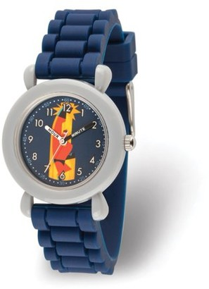 Disney Incredibles Bob Parr Boys' Grey Plastic Time Teacher Watch, Duck Blue Silicone Strap